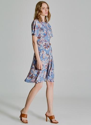 People By Fabrika Desenli Bağlama Detaylı Elbise Mavi